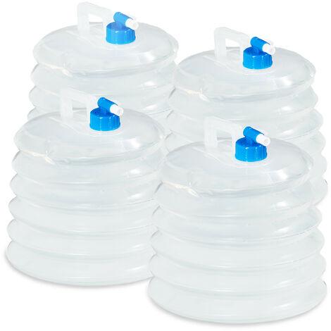 Bidón de agua plegable set de 4, 10L, oval, agarradero, con grifo, 5L, 10L, 15L, camping, bidón plegable de agua, alimentos seguros