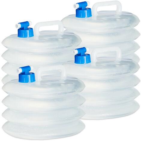 Bidón de agua plegable set de 4, 5L, oval, agarradero, con grifo, 5L, 10L, 15L, camping, bidón plegable de agua, alimentos seguros