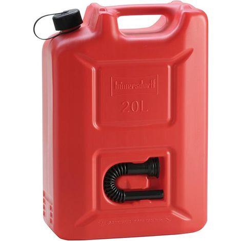 Bidon d'essence Pro plastique capacité nominale 20l rouge hünersdorff 1 PCS