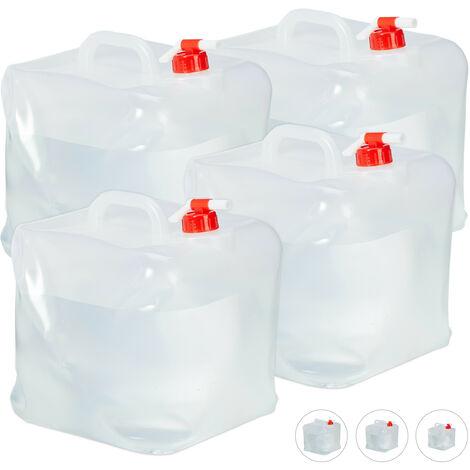Bidón plegable, Grifo & Tapón de Rosca, Garrafa de camping, Sin BPA, 20L, 4 Uds., Transparente & Rojo