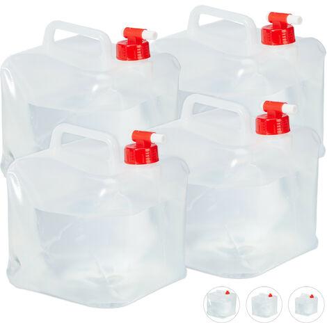 Bidón plegable, Grifo & Tapón de Rosca, Garrafa de camping, Sin BPA, 5L, 4 Uds., Transparente & Rojo