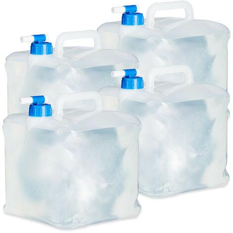 Bidón plegable, Grifo & Tapón de Rosca, Para acampada, Sin BPA, 10L, 4 Uds., Transparente & Azul