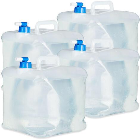 Bidón plegable, Grifo & Tapón de Rosca, Para acampada, Sin BPA, 15L, 4 Uds., Transparente & Azul