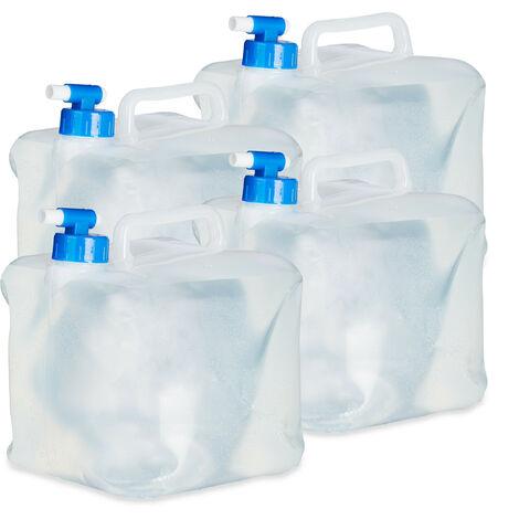 Bidón plegable, Grifo & Tapón de Rosca, Para acampada, Sin BPA, 5L, 4 Uds., Transparente & Azul
