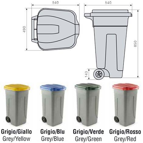 """main image of """"BIDONE RACCOLTA DIFFERENZIATA 100 LITRI CON COPERCHIO COLORATO E RUOTE"""""""