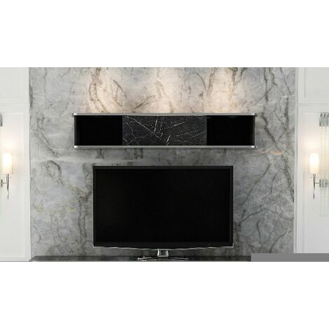 Bien Tv Stand with Shelf - with Doors, Shelves - for Living Room - White, Silver Wood, Metal, 180 x 35 x 50 cm