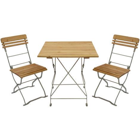Biergarten Garnitur München 3 Teilig 2x Stuhl 1x Tisch 70x70cm