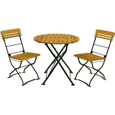 Biergarten Garnitur Munchen 3 Teilig 2x Stuhl 1x Tisch Rund