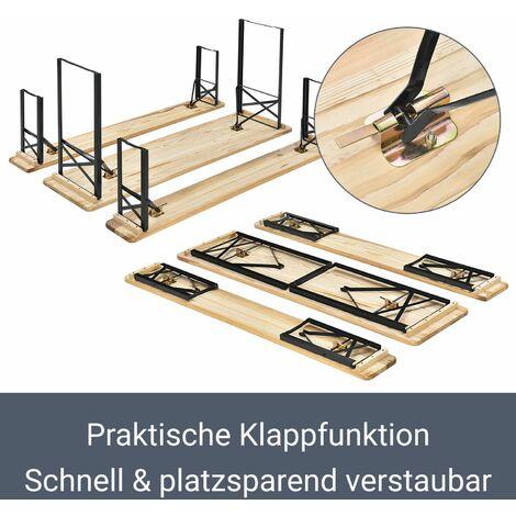 Bierzeltgarnitur Bichl 3-teilig klappbar - Gartenmöbel-Set aus 1 Biertisch + 2 Bierbänke – Festzeltgarnitur Biertischgarnitur Holz Metall   Juskys