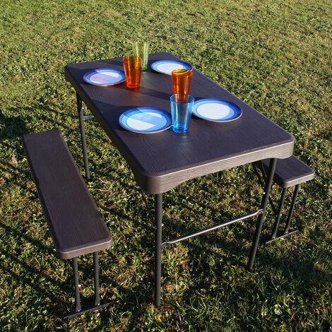 Bierzeltgarnitur Festzeltgarnitur Kurz Gartenmöbel Set 3 tlg.107cm Länge 2 Bierbänke 1 Tisch