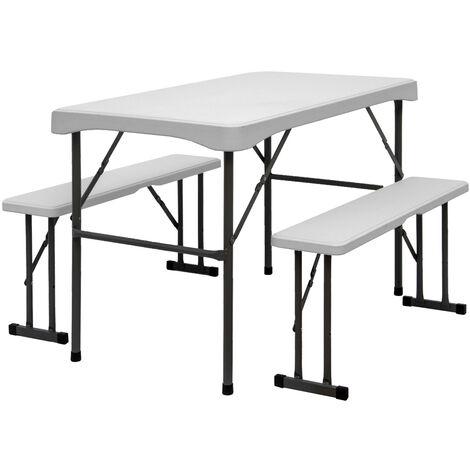 Bierzeltgarnitur für 4 Personen - 112 x 61 cm Bierbank Set - Tisch mit 2 Bänken