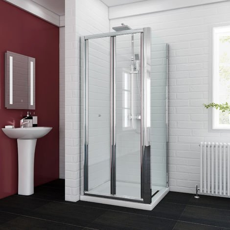 Bifold Glass Shower Enclosure Reversible Folding Shower Cubicle Door with Side Panel + Stone Tray