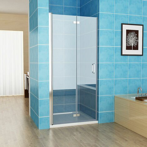 700 x 1850 mm Bifold Shower Enclosure Door Frameless Pivot 6mm Safety Easy clean Glass - No Tray
