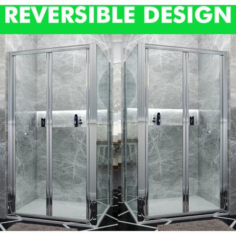 Bifold Shower Enclosure Glass Bathroom Screen Door Cubicle with Side Panel