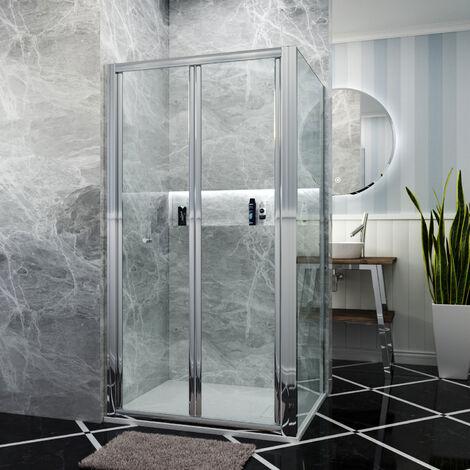 Bifold Shower Enclosure Glass Screen Door Cubicle + Side Panel