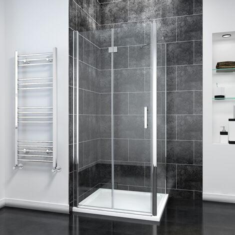 Bifold Shower Enclosure Glass Shower Door Reversible Folding Cubicle Door + Side Panel