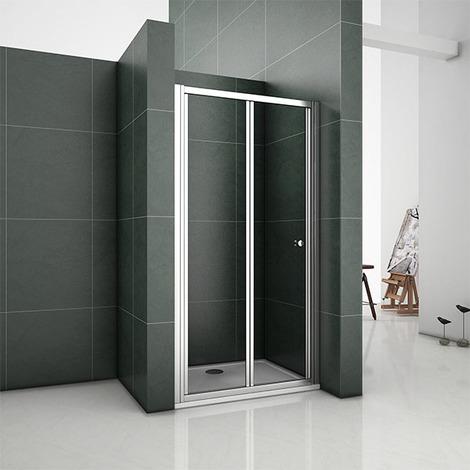 100x185cm Bifold Shower Enclosure Walk In Safety Glass, Wet room