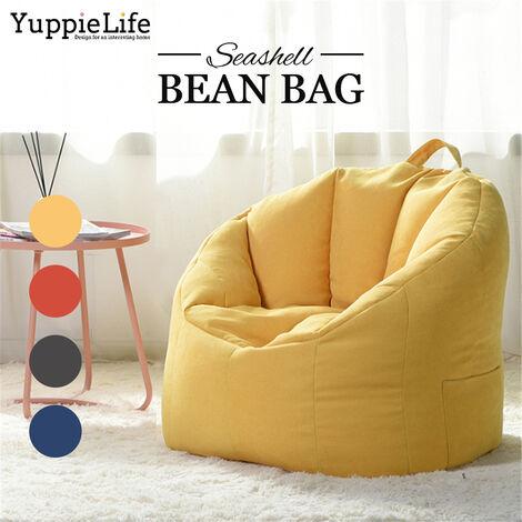 Big Joe Milano Bean bag Disponible en varios colores Comodidad para niños Adultos YuppieLife Gran bean bag Sillas Sofá Funda para sofá Interior Lazy Lounger para adultos (amarillo, solo manta)
