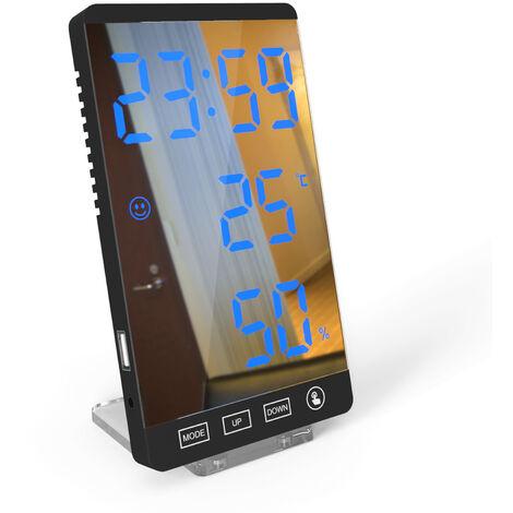 Big Led Affichage De La Temperature De L'Ecran Humidite Affichage De L'Heure Miroir Alarme Intelligent Horloge Accueil Bureau Des Menages Hotel Multifuntion Utilitaire Outil, Bleu Noir