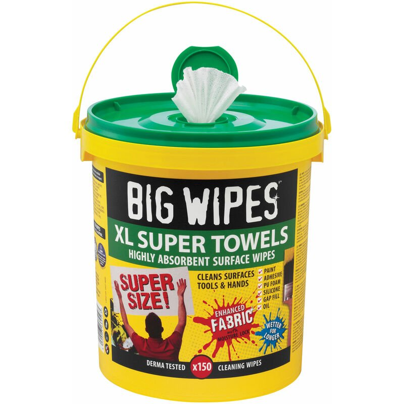 Image of 2447 0000 XL Super Towels Cleaning Wipes (Tub 150) - Big Wipes