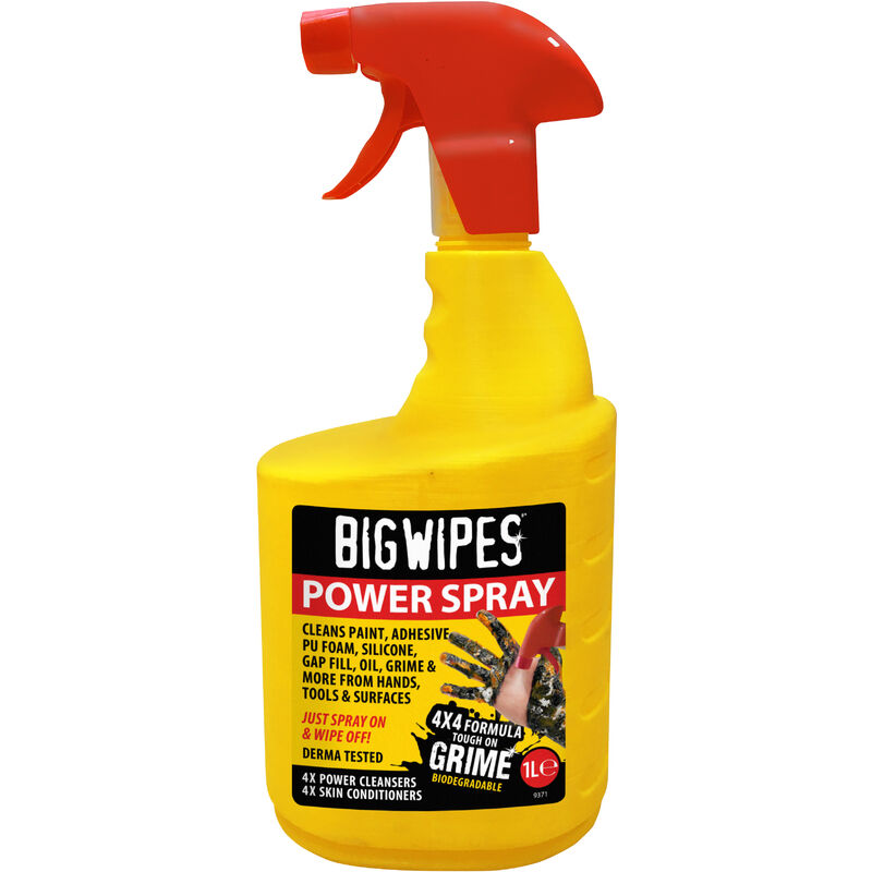 Image of 4 x4 Power Spray Bottle Industrial Cleaning Surfaces Tools Office 1L - Big Wipes