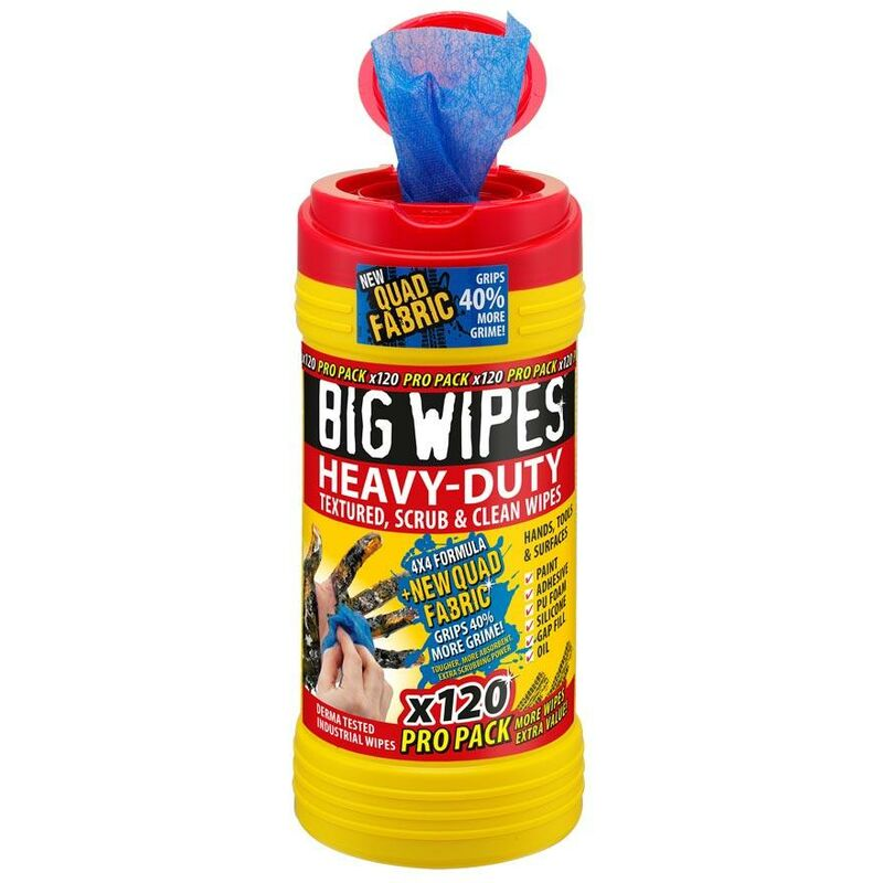 Image of Wipes BGW2423 4x4 Heavy-Duty Cleaning Wipes Pro Pack 120pk - BIG