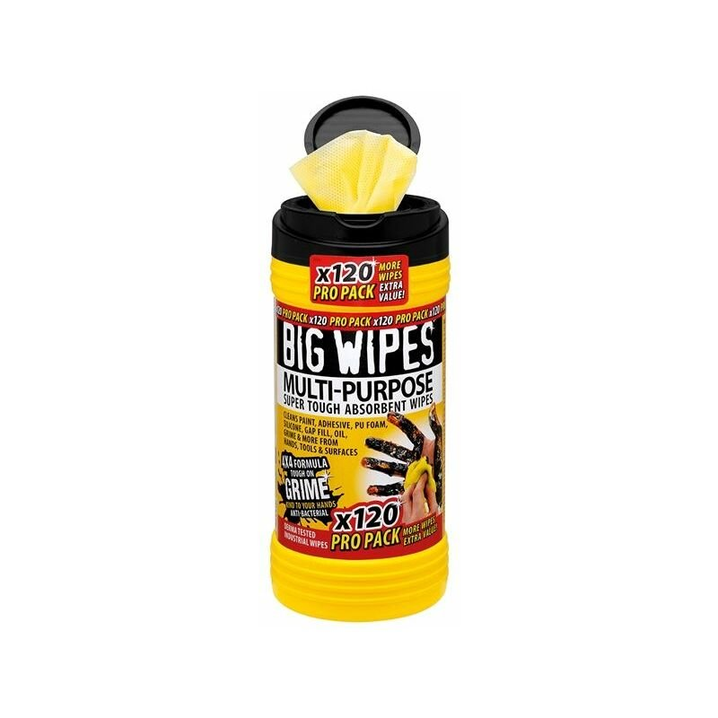 Image of Big Wipes - 4x4 Multi-Purpose Cleaning Wipes Tub of 120 (BGW2412)
