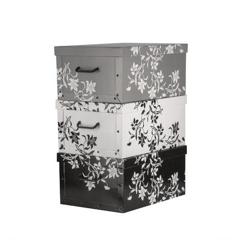 BigDean Aufbewahrungsboxen XXL 3er Set je 45 Liter - mit Deckel & Griffen - aus stabiler Pappe - verschiedene Farben im Barock-Blumenmuster - perfekt für Ordnung im ganzen Haus