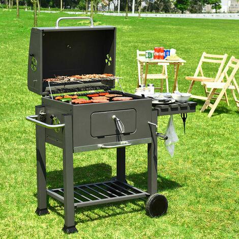 BIGZZIA Barbecue Grill - Barbecue Charbon de Bois à 2 Roues 2 Grilles et 1 Thermomètre en Métal - Barbecue au charbon de bois avec tablette latérale et crochet Pour la cuisine en extérieur