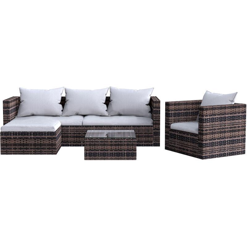 Salon de jardin-imitation rotin résine tressée-Ensemble 5 places-livré avec accoudoirs, coussins de dossier et verre - Bigzzia