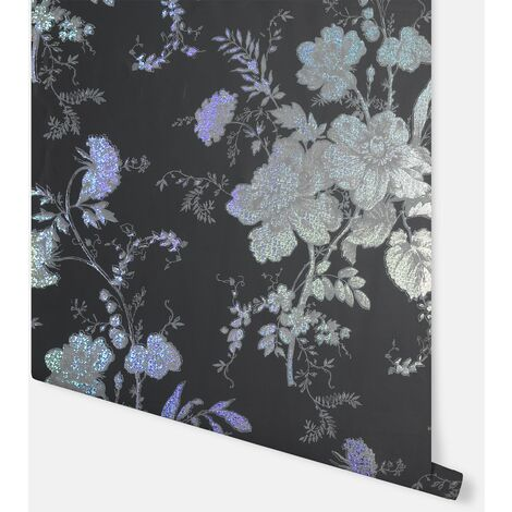 Bijoux Fleurette Charcoal Wallpaper - Arthouse - 294806
