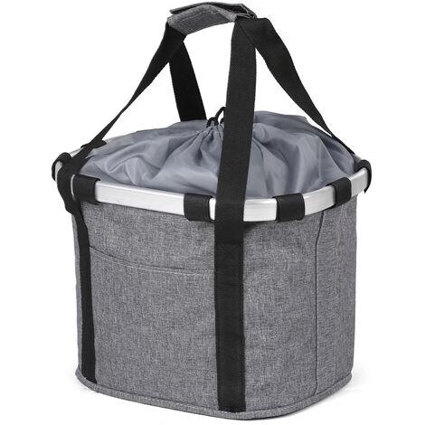 "main image of ""Bike Detachable Basket Bicycle Front Pet Carrier Canvas Front Bag Aluminum Alloy Frame Pet Basket,model:Grey style 3"""