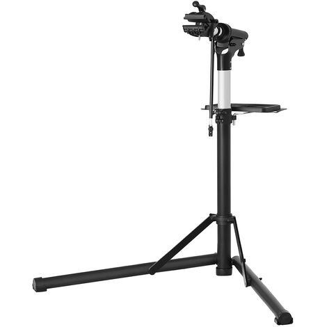 Bike Repair Stand Rack, Aluminium Bicycle Repair Workstand with Magnetic Tool Tray, Adjustable, Lightweight, Portable, for Bike Maintenance, Black SBR04B