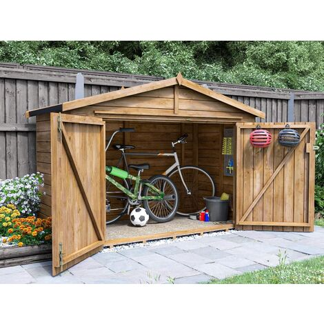 Bike Shed Ariane 2m x 1m - Outdoor Bike Shed Fully Pressure Treated Timber Garden Bicycle Storage With Pre-Fixed Roof Felt