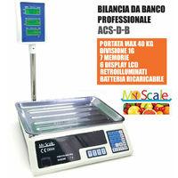 Bilancia 40 Kg 1 Grammo Con Asta Piatto Acciaio 6 Display Retroilluminati 986