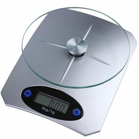 """main image of """"Bilancia digitale da cucina display LCD piatto in vetro funzione tara 5 kg B04"""""""