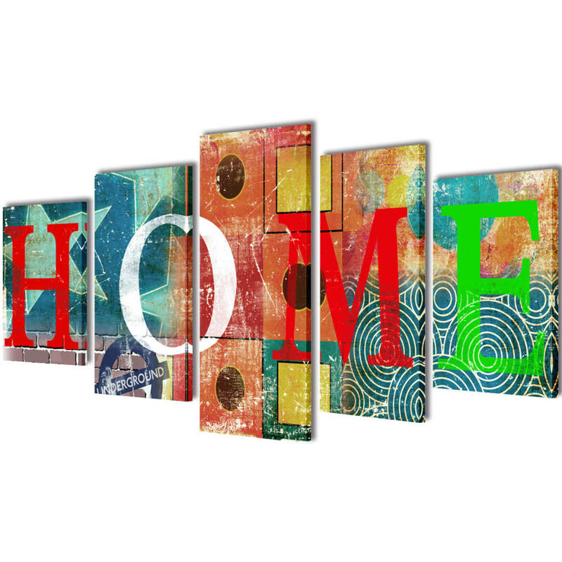 Bilder Dekoration Set 'Home' mehrfarbig 200 x 100 cm