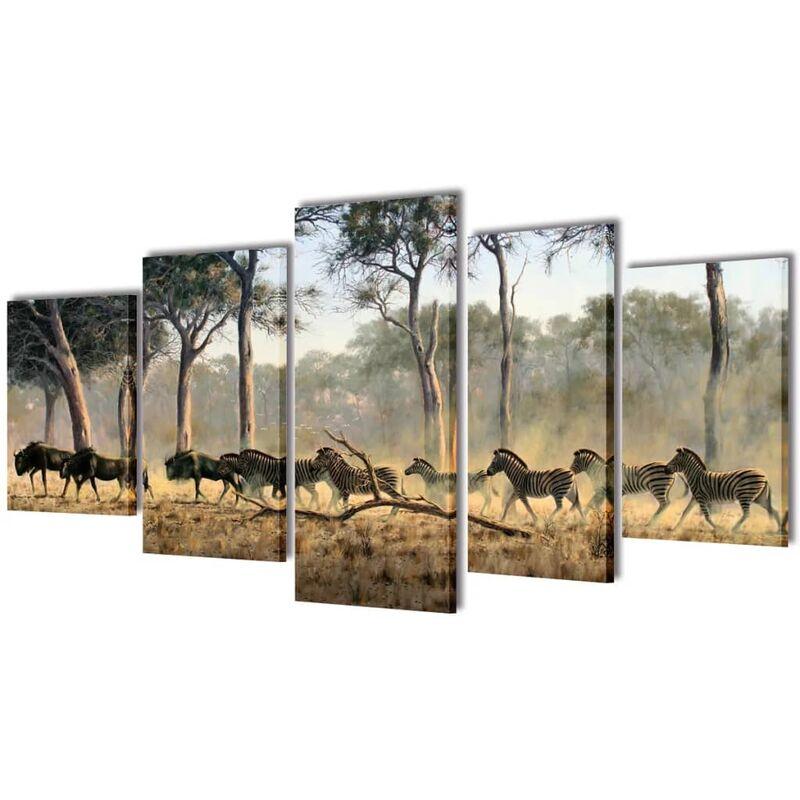 Bilder Dekoration Set Zebras 100 x 50 cm