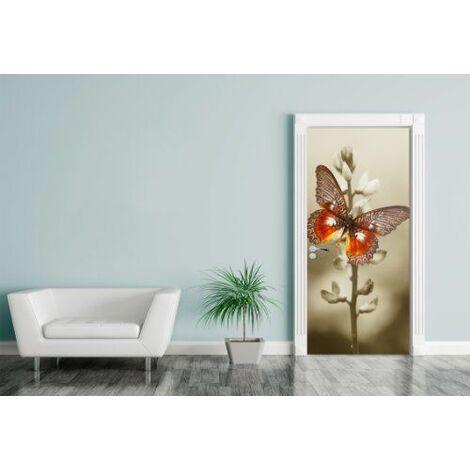 Bilderdepot24.de 11492 design papillon rouge sur un düsterem case 90 x 200 cm, autocollant