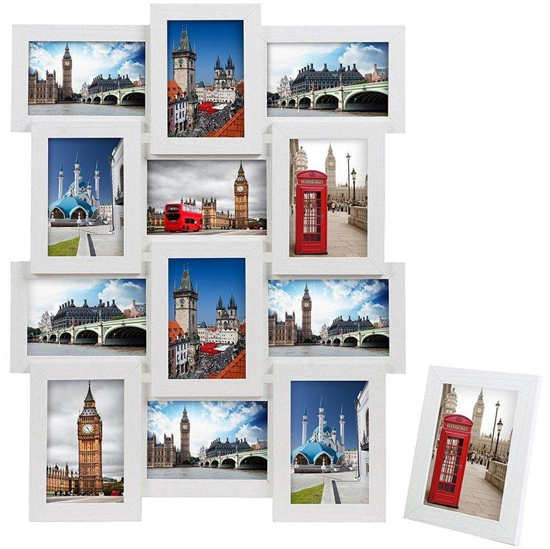 Bilderrahmen 3D Collage 4 6 8 9 12 oder 18 Fotos Fotogalerie Weiß Schwarz