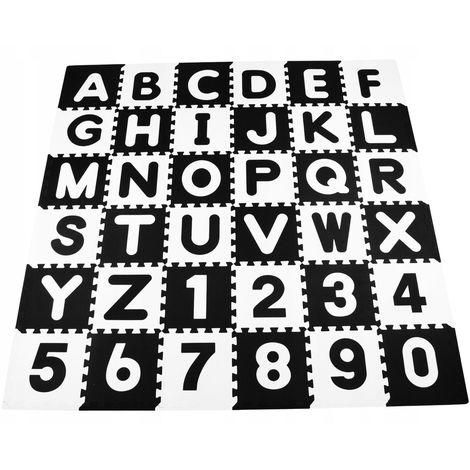 BIMBE | Tapis d'éveil Puzzle 36 éléments 180x180cm bébé/enfant | Dalles sensorielles lettres mousse non toxique EVA 30x30cm | Blanc/Noir - Blanc/Noir