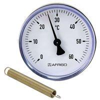 Bimetall-Anlegethermometer - Ø 63 mm - Anzeige 0 bis 60 °C - mit Montagefeder für Rohre von 3/8'' bis 1 1/2''
