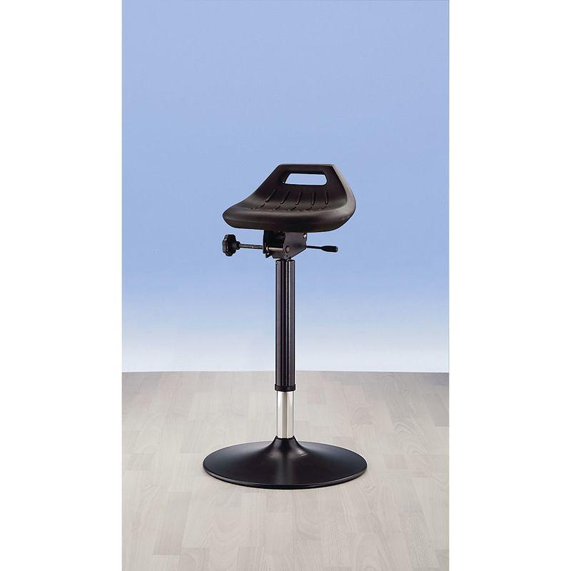 bimos Assis-debout industriel - avec pied rond extra-plat, modèle antistatique - assise pivotant de 360° - Coloris piétement: noir