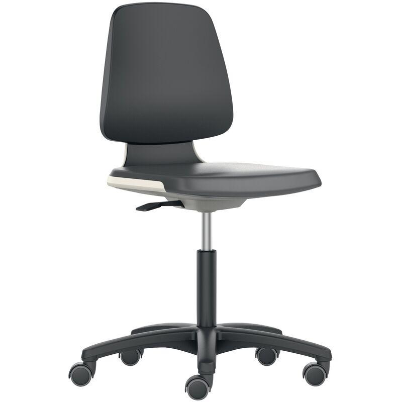 Interstuhl - Chaise d'atelier pivotante Labsit rouleaux coque de siège anthracite tissu Supertec noir 450-650 mm
