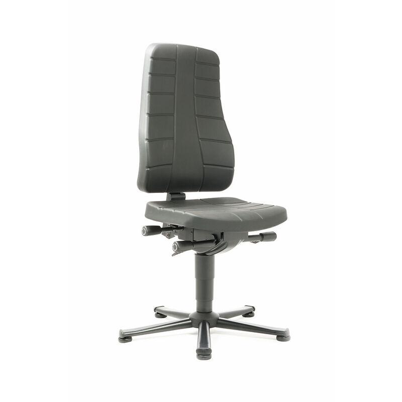bimos Siège d'atelier à fonctions ergonomiques - avec patins - mousse PU noire - Coloris habillage: noir