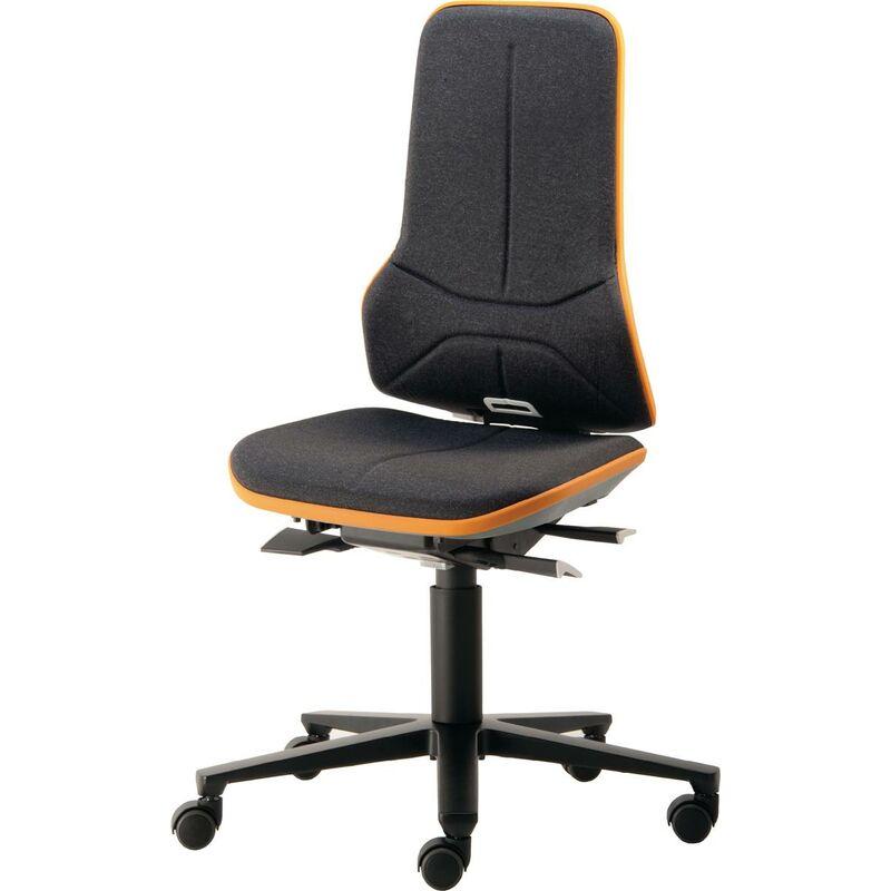 Interstuhl - Chaise d'atelier pivotante Neon roulettes sans élément de rembourrage noir bleu 450-620 mm contact permanent