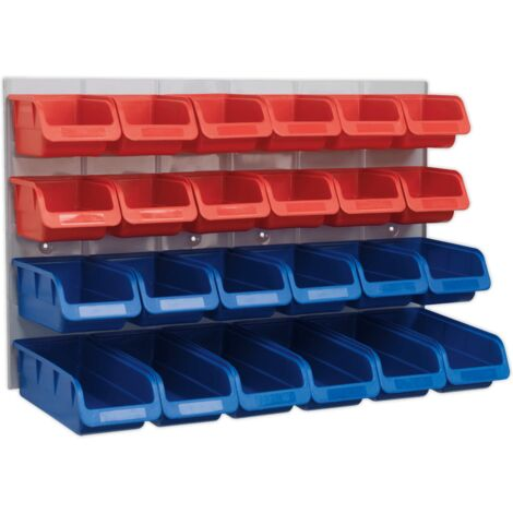 Bin & Panel Combination 24 Bins - Red/Blue