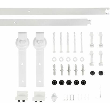 Binario per Porta Scorrevole Kit per Porta Fienile Scorrevole Sospesa per una porta, Bianco 2M