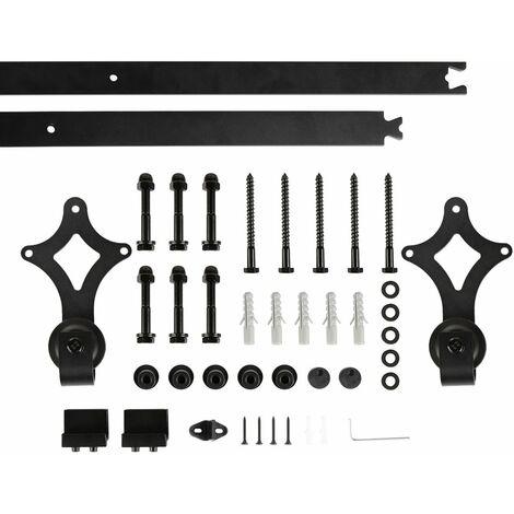 Binario per Porta Scorrevole Kit,Acciaio Scivolante Barn Hardware Door Kit, Scorrevole Porta, Nero, 183 cm, Gancio a diamante