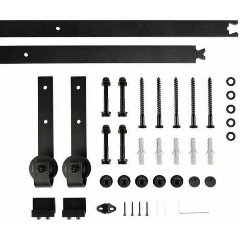 Binario per Porta Scorrevole Kit,Acciaio Scivolante Barn Hardware Door Kit, Scorrevole Porta, Nero, 200 cm